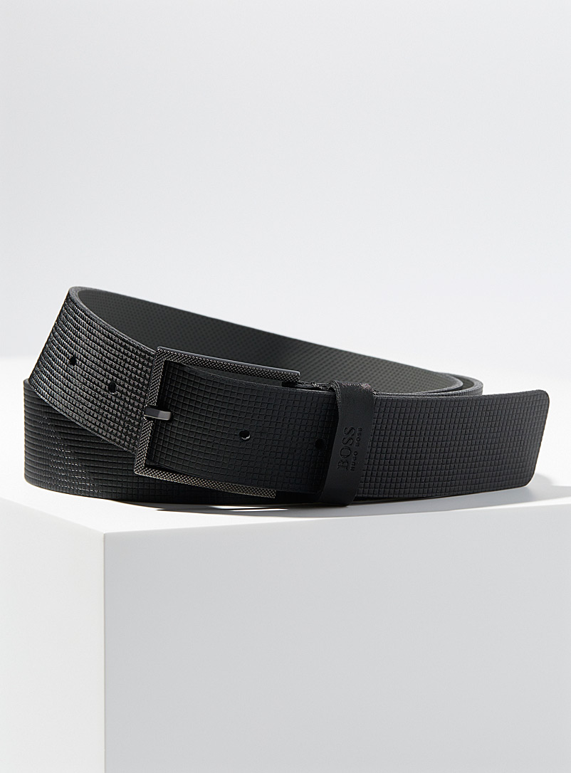 BOSS Black Mini-check embossed leather belt for men