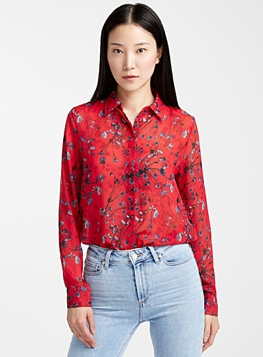 Elifia floral silky blouse