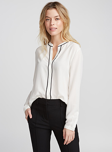 Ennefy contrast piping blouse