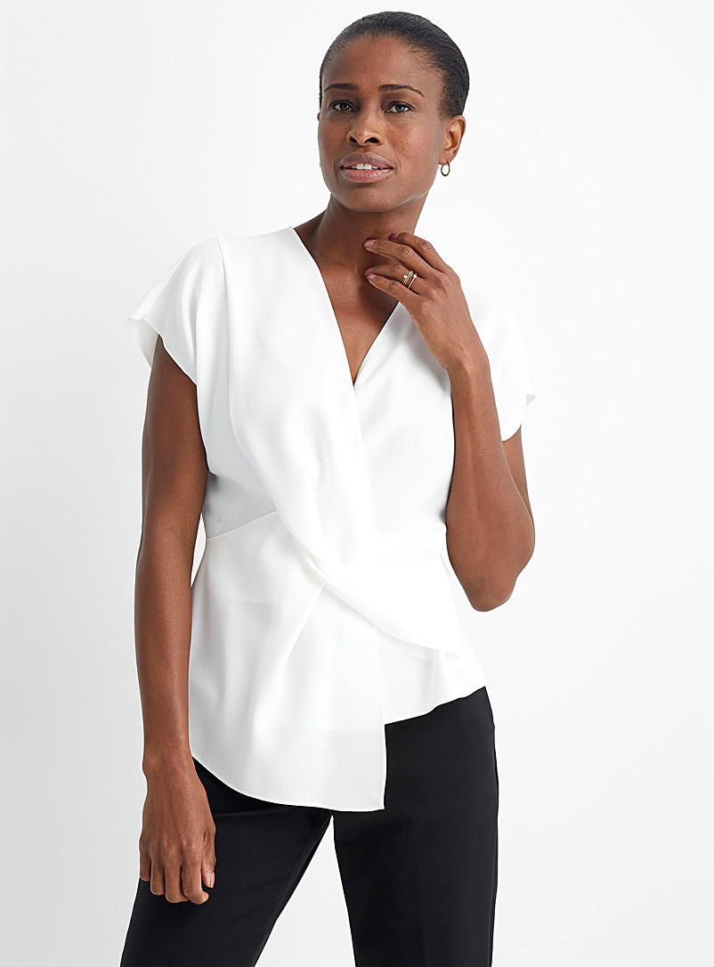 HUGO White Cetisi tie-front blouse for women