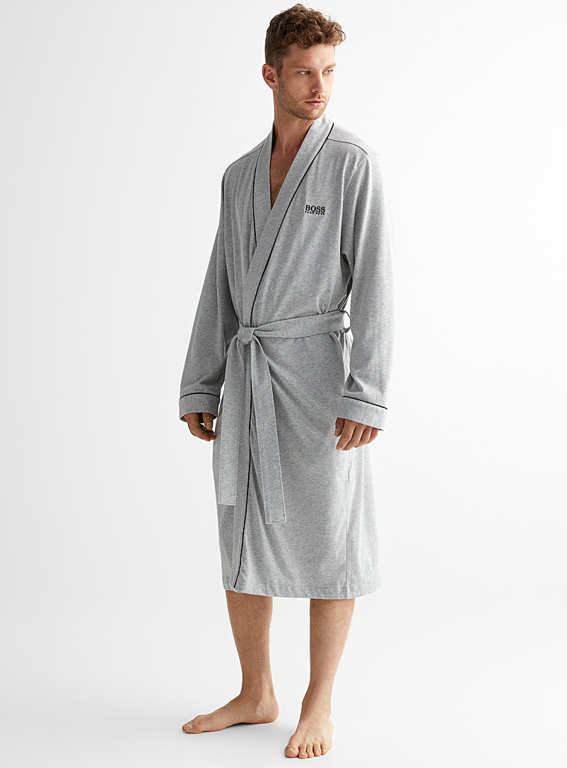 BOSS Charcoal Signature trimmed robe for men