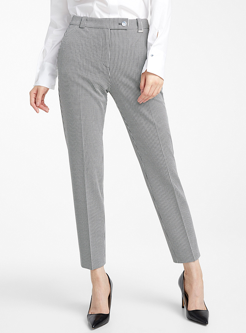 HUGO Black and White Hasari houndstooth pant for women