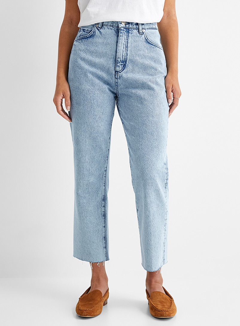 HUGO Slate Blue Bleached Gayang straight cropped jean for women