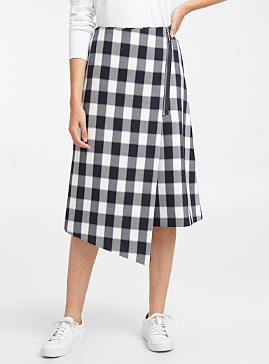 Ramena asymmetric check skirt