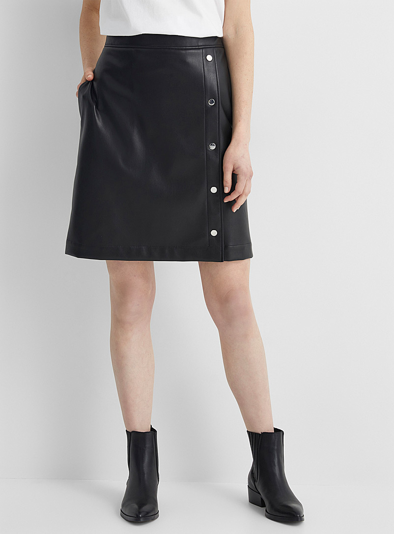 Faux-leather metallic-button skirt