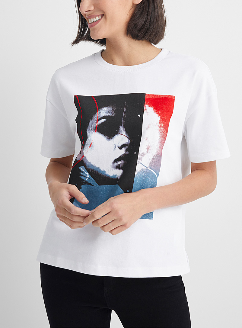 HUGO White Abstract feminine portrait tee for women
