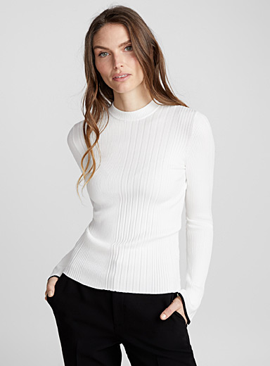 Spatchy contrast-cuff ribbed sweater