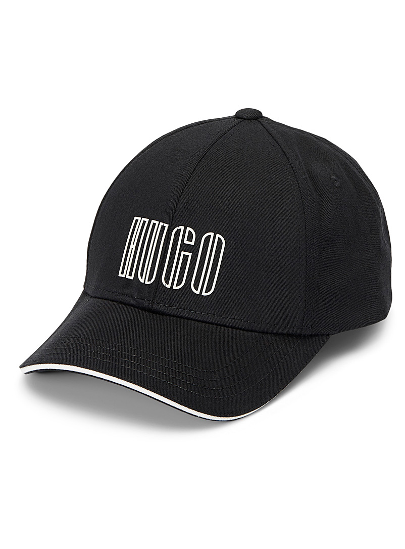 HUGO Black Embroidered logo twill cap for men