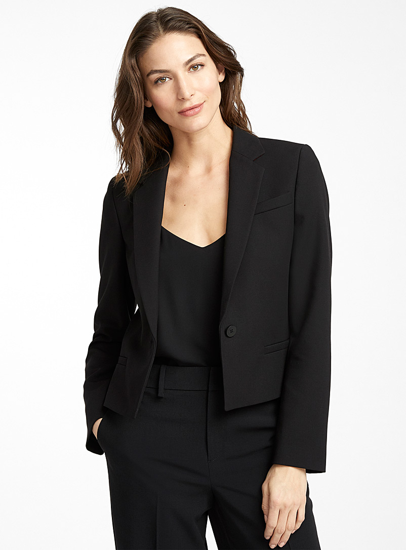 HUGO Black Amele single-button cropped jacket for women