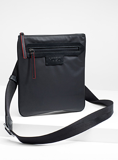 Leather accent shoulder bag