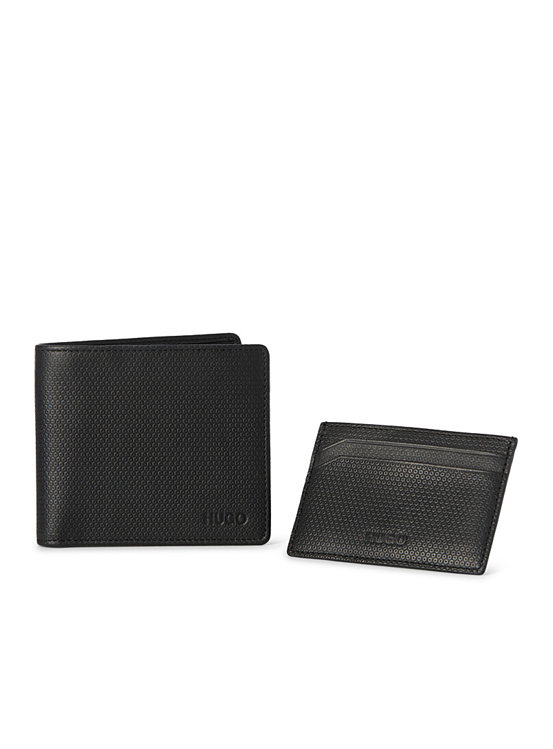Pebbled leather wallet and card holder set - Wallets - Black