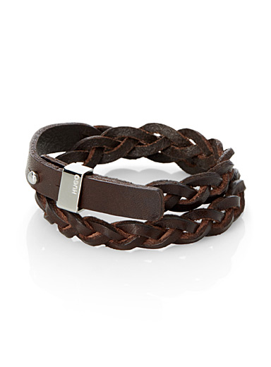 Braided leather double bracelet