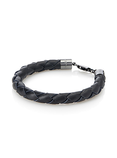 Braided leather bracelet with snap hook