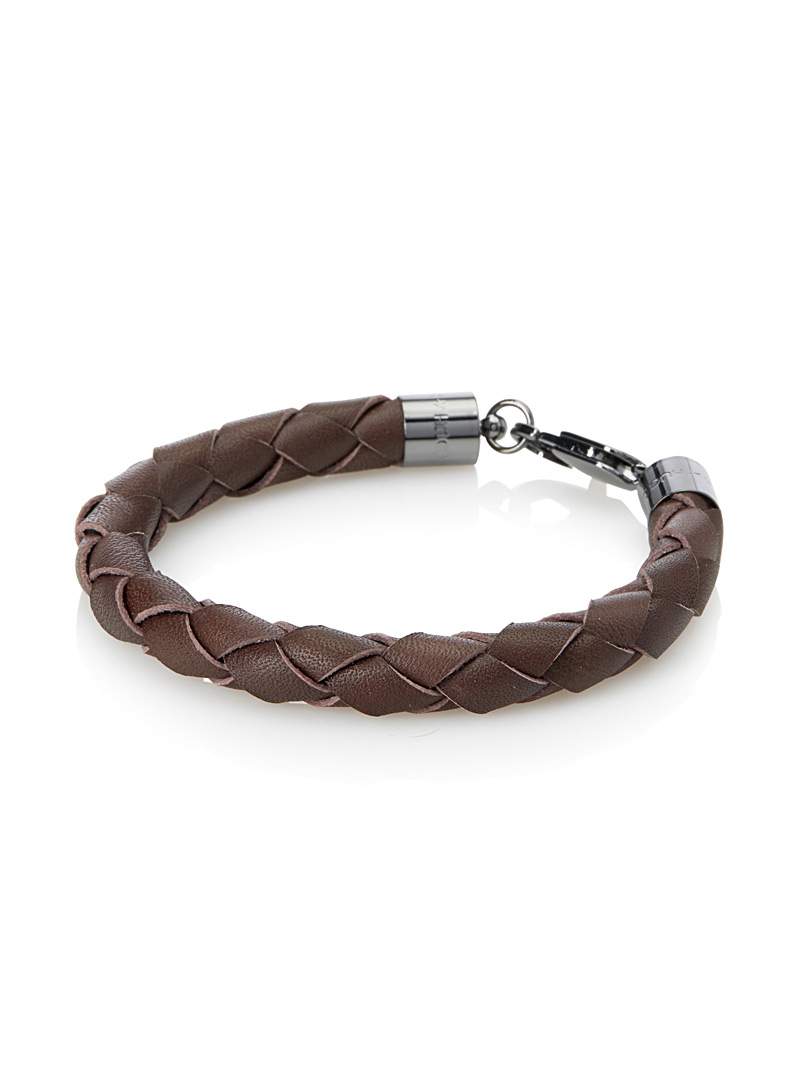 Braided leather bracelet with snap hook - Jewellery - Dark Brown