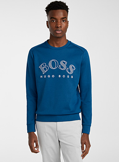BOSS Blue Embroidered crew neck sweatshirt for men
