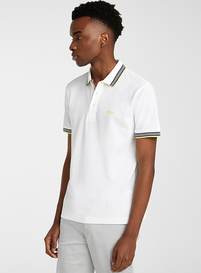 BOSS: Le polo Paddy Ivoire blanc os pour homme
