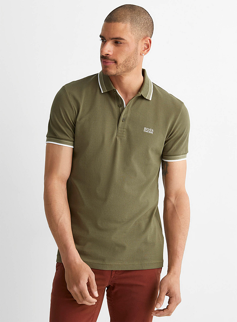 BOSS Mossy Green Paddy piqué polo for men