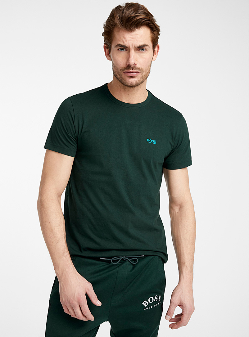 BOSS Mossy Green Traced signature T-shirt for men