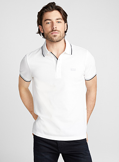 Boss striped-trim polo