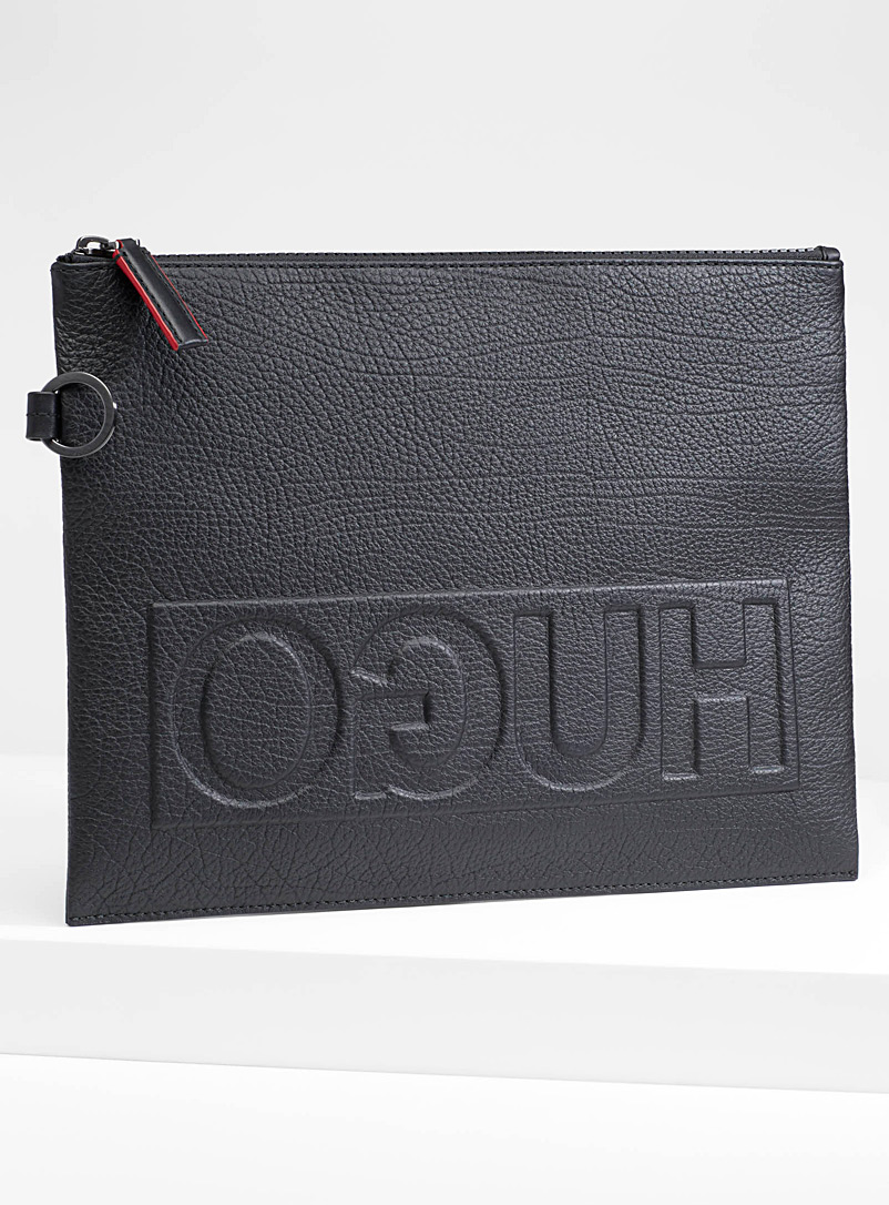 Grained leather laptop case - Clutches - Black