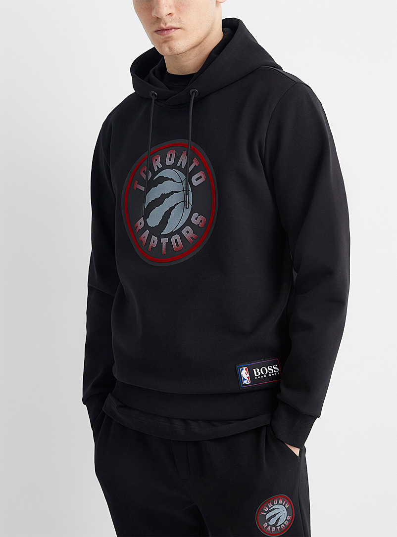 BOSS Black NBA Raptors hooded sweatshirt for men