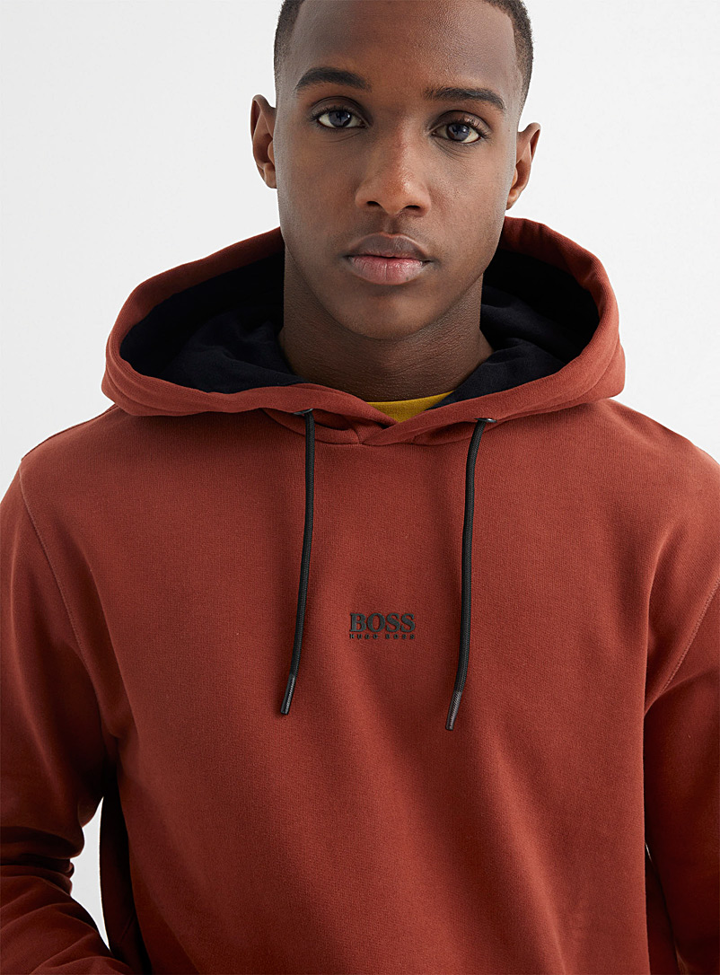 BOSS Copper Centred micro-logo hoodie for men