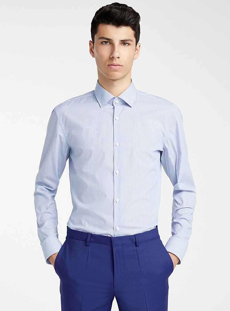 HUGO Baby Blue Kenno fine stripe shirt for men