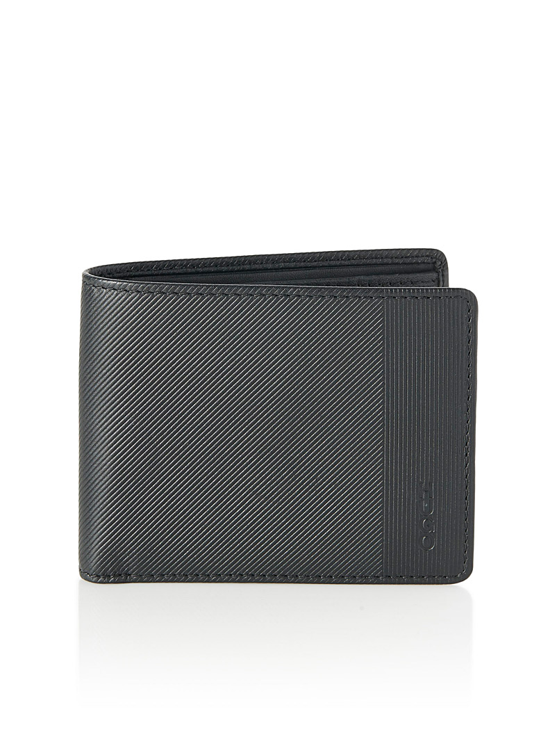 Engraved stripe wallet - Hugo Boss - Black