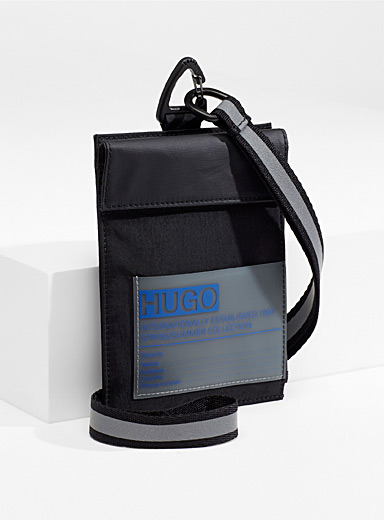 HUGO Black Voyager neck pouch for men