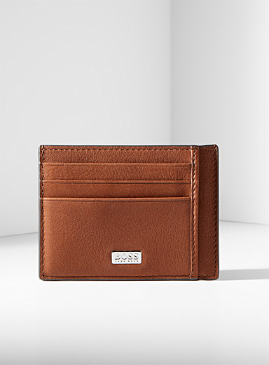 Crosstown pebbled leather card holder