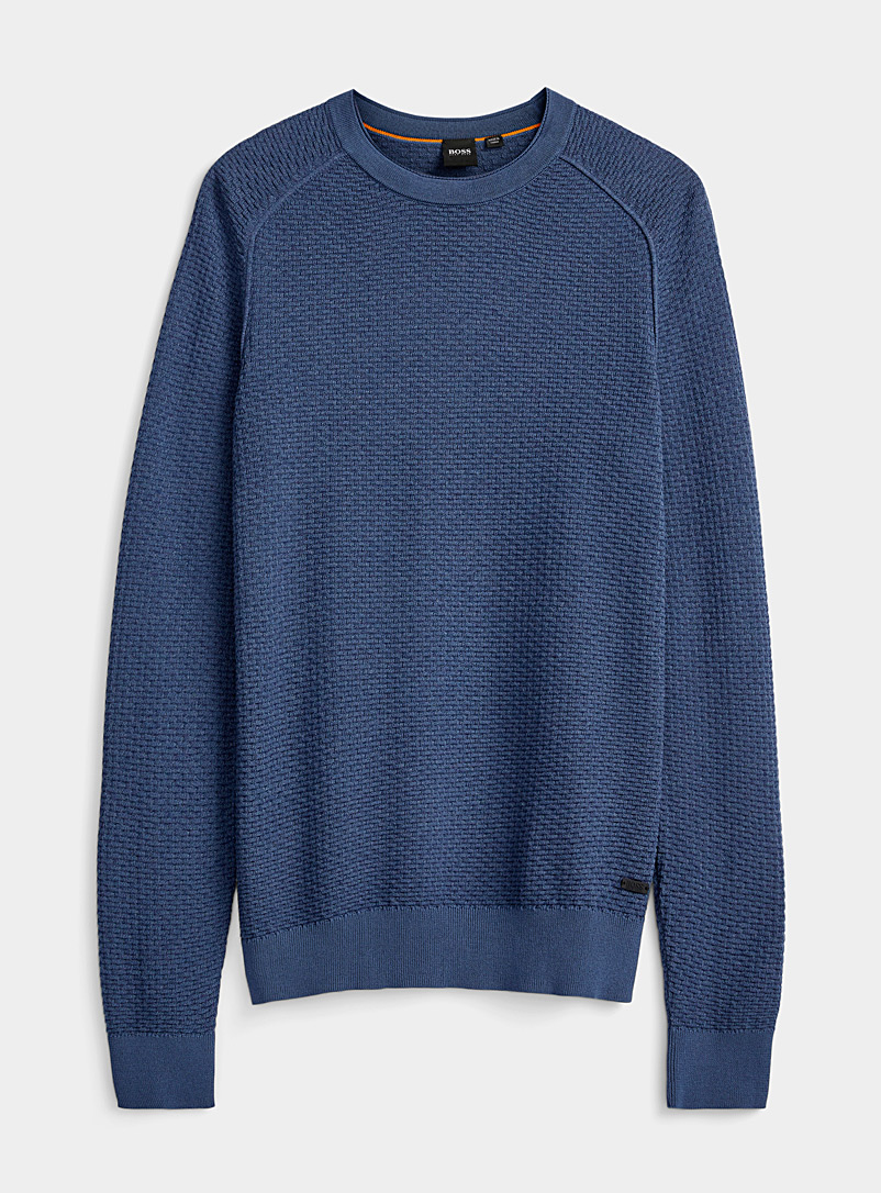 BOSS: Le pull relief infini Marine pour homme