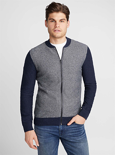 Textured block zip cardigan