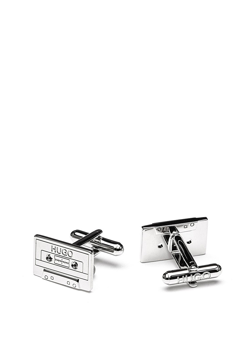 HUGO Silver Cassette cufflinks for men