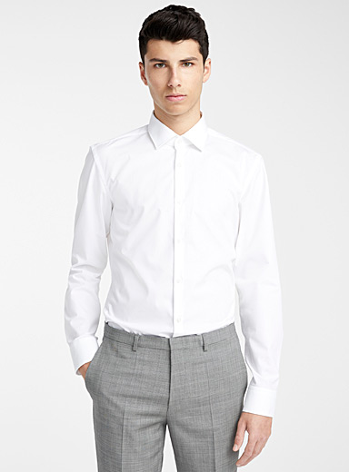HUGO White C-Jenno solid shirt for men