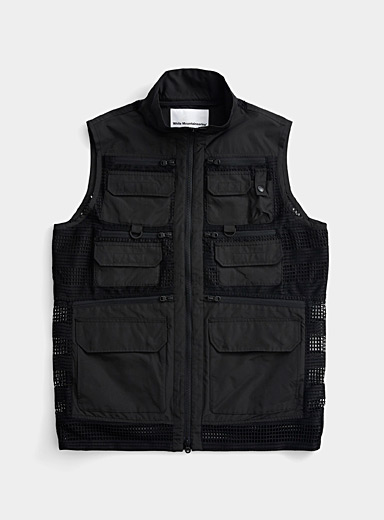 White Mountaineering Black Tactical mesh jacket for men