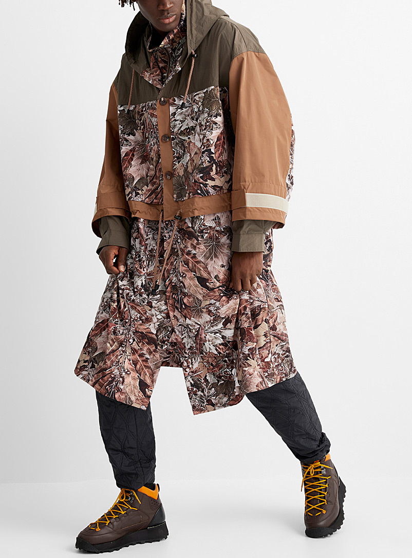 White Mountaineering Brown Autumn leaves long parka for men