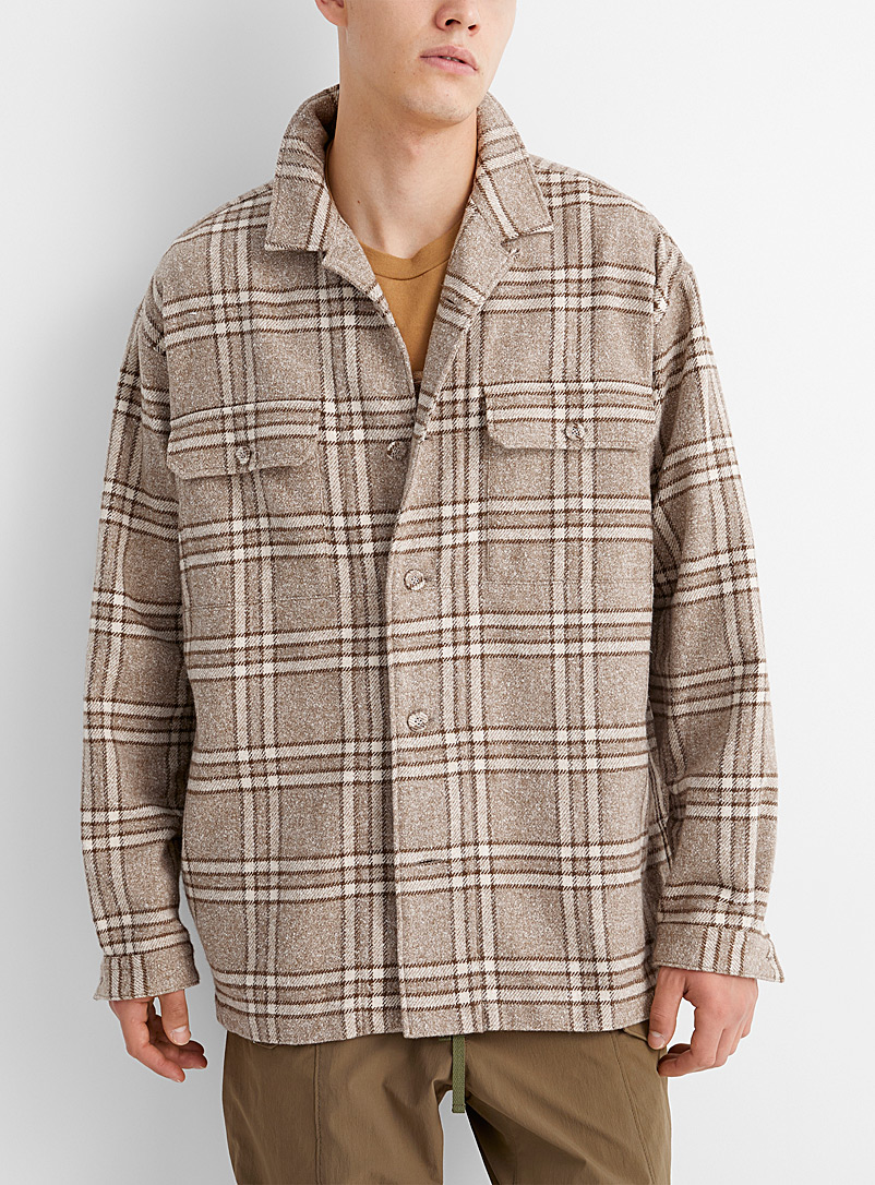 White Mountaineering Cream Beige Sand-coloured check flannel shirt for men