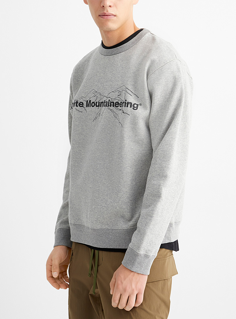 White Mountaineering Grey Illustrated logo heather sweatshirt for men