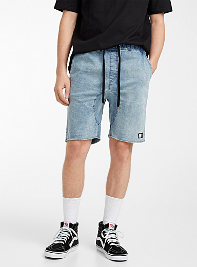Cropped denim pull-on short