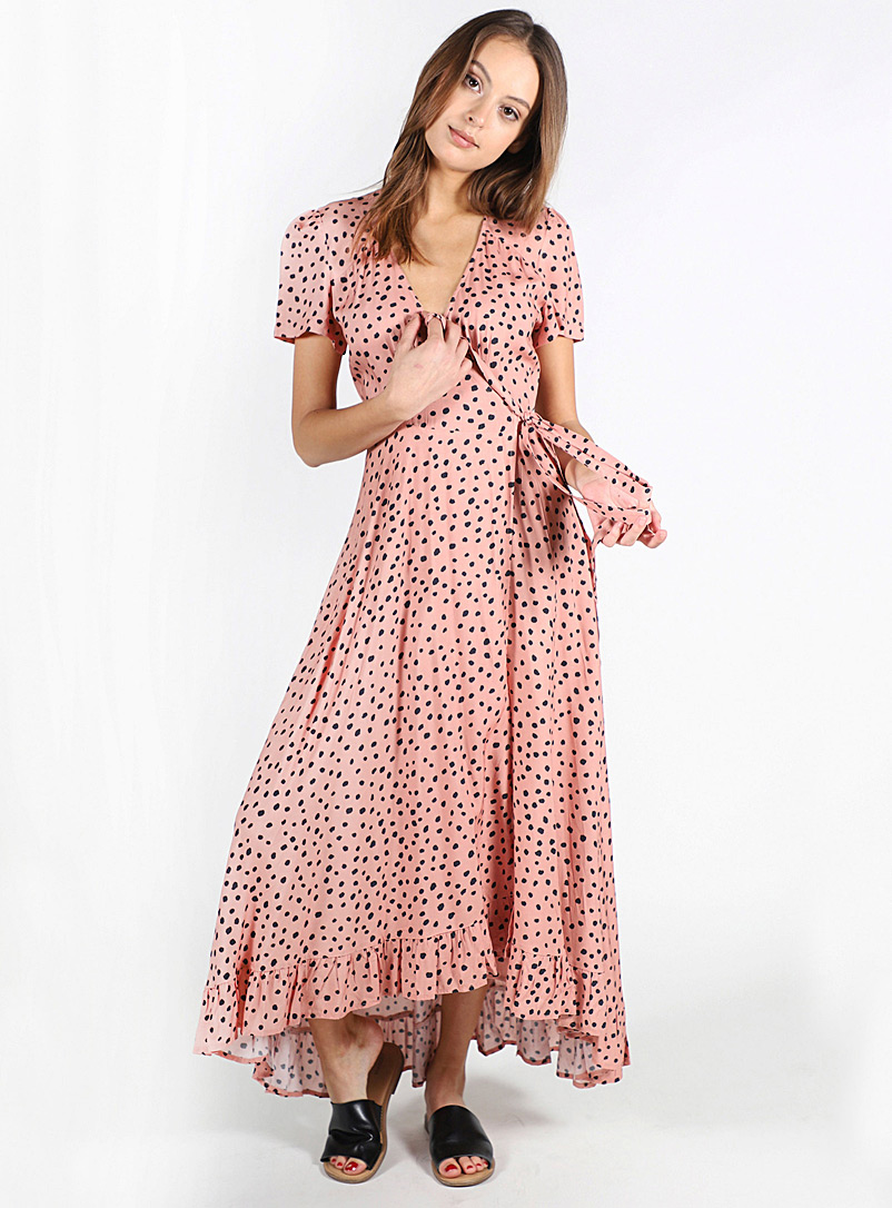 Lira Pink Abstract dot wrap dress for women
