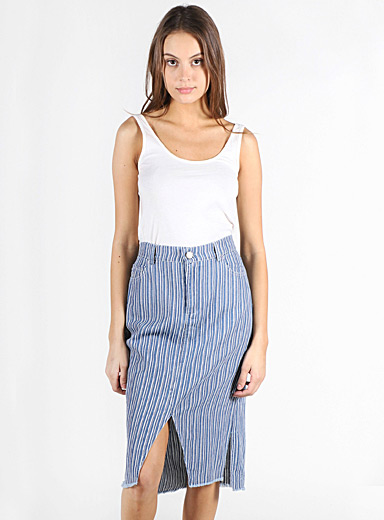 Lira Blue White stripe denim skirt for women