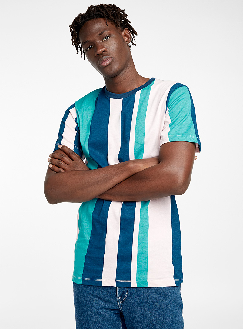 Pastel striped T-shirt - Short sleeves & 3/4 sleeves - Teal