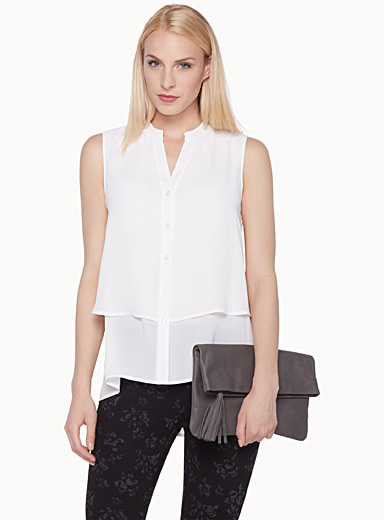 Two-layer buttoned blouse
