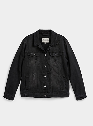 Black worn boyfriend jean jacket