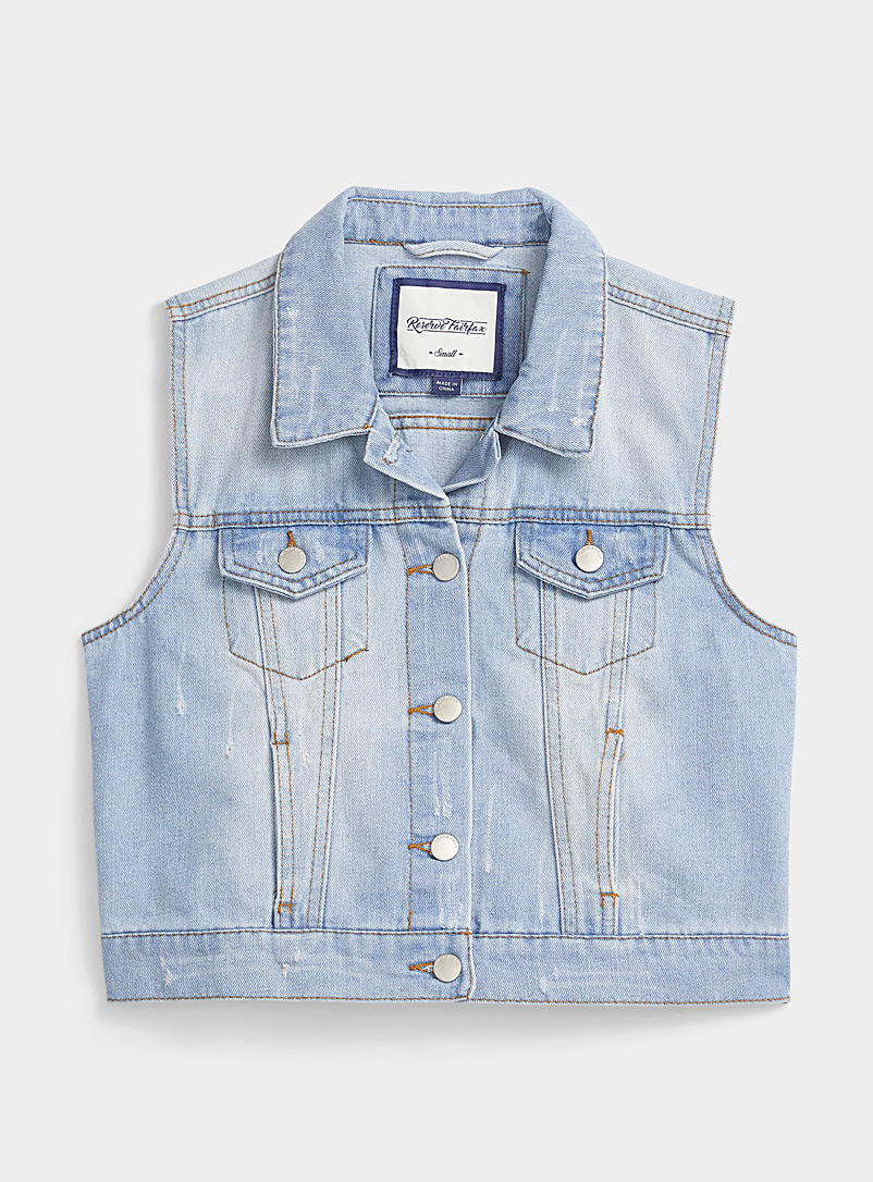 Twik Baby Blue Sleeveless faded jean jacket for women