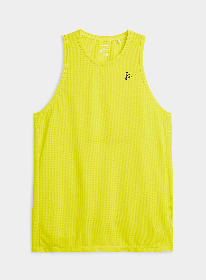 CRAFT Bright Yellow Core Charge logo breathable tank for men