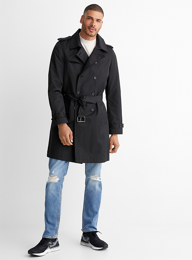 Le 31 Black Minimalist belted trench coat for men