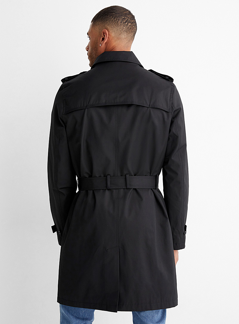 Minimalist belted trench coat - Overcoats - Black
