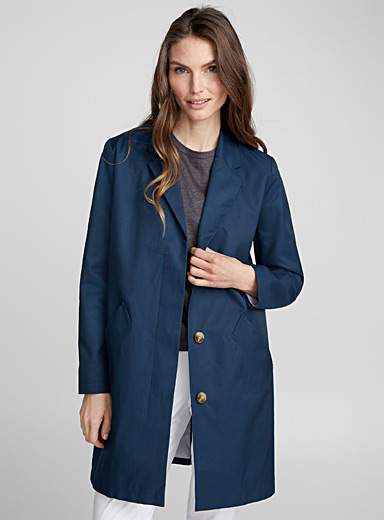 Satiny cotton tailored-collar overcoat