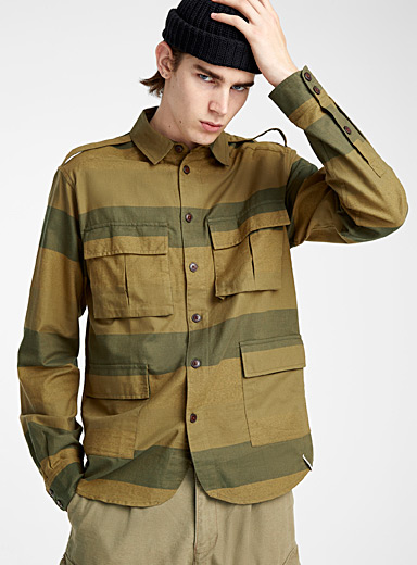 Utilitarian stripe overshirt <br>Semi-tailored fit